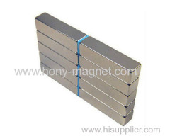 Permanent neodymium block magnet coated Nickel.
