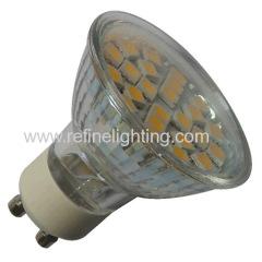 24LEDs 5050SMD 3-3.5W 250-280lm LED GU10 bulb glass body Ra>80