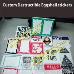 Non removable destructible vinyl eggshell stickers permanent stickers