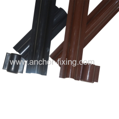 Cable Riser Guard in brown PVC for cable line installation