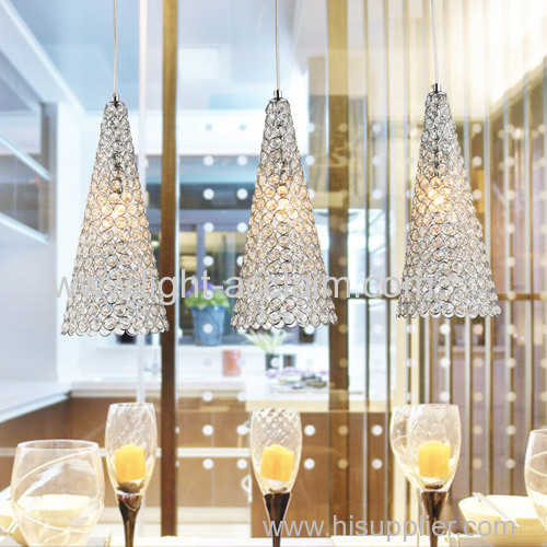 modern pendant lighting three crystal lamp Triangle crystal pendant lamp Ice cream cone shape