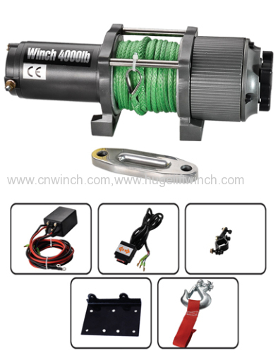 UTV/ATV winch 4000lbs rope winch 12V DC automatic brake