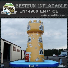 Inflatable castle climbing wall with safety belt