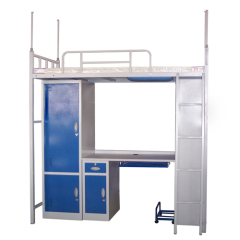 Modern double over double dormitory metal bunk beds,school triple bunk bed with desk