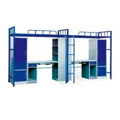 school dormitory metal bunk bed with locker and desk