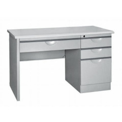 L shaped steel office desk with drawer