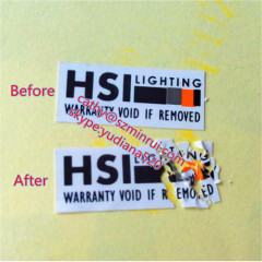 ultra destructible vinyl and printed logo adhesive sticker type security warranty label