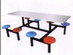 Metal and plastic school dining table and chair