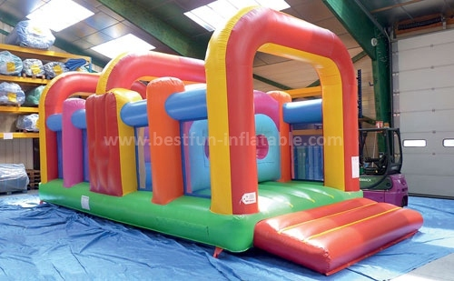 Inflatable duo run challenges obstacle course