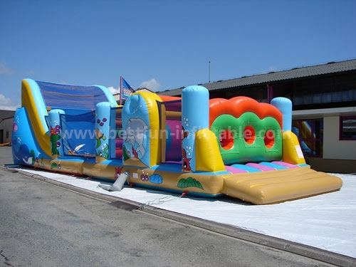 Adrenaline Rush Inflatable Obstacle Course with slide