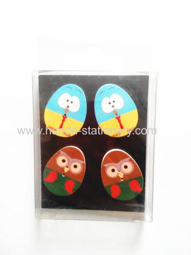 family decoration colorful for children cartoon wooden egg shape  fridge magnet for fridge