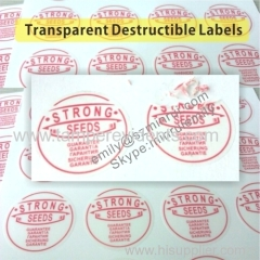 Custom warranty void if seal broken transparent destructible vinyl stickers
