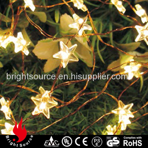 20L warm white Mini LED copper wire string lights with star decoration