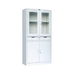 Best selling metal file cabinet with 2 drawer in the middle, display file cabinet locker with glass door for office docu
