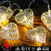10L silver iron thread heart warm white LED string decorative light