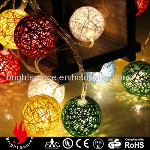 10L multi color cotton ball warm white LED string decorative lights