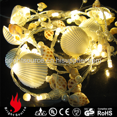 seashell conch and pearl garland warm white led string decorative lights