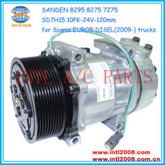 Sanden 8295 8275 7275 SD7H15 PV10 ac air compressor for EURO5 Scania trucks DIESEL 1888032 1531196 18530814 1 531 196 1
