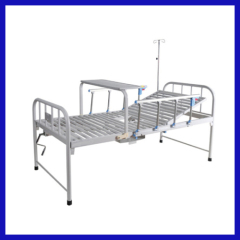 Manual hospital bed crank with table