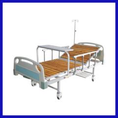 Manual single swing wooden hospital bed