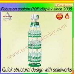 Bottle Shape Metal Rotating Three Floors Drinks Display Shelf