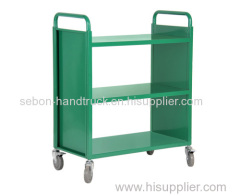 3-shelf library book cart with wheels