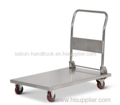 Folding flatbed trolley Stainless steel foldable platform trolley