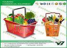 Red Color Plastic shopping baskets with handles , reusable shopping basket With CE , SGS