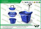 HDPP / HDPE Rolling Grocery Basket , Supermarket Shopping Basket Cart With Wheels