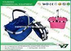 Reusable Canvas Supermarket Folding Shopping Baskets Cart Blue or Pink color