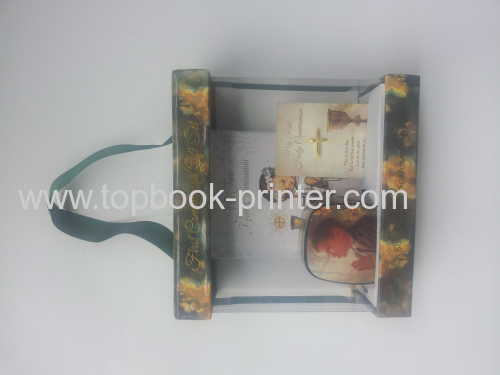 Print high-grade PVC paperboard prayer gift box with sponge hardboud diary metal box and silk ribbons