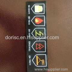 fire retardant woven label for fire retardant coveralls