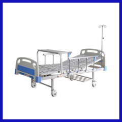Manual 4 crank icu hospital bed with table