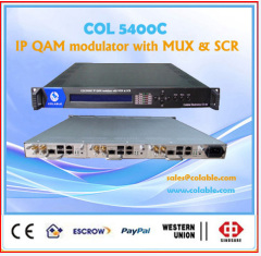 IP qam 8 in 1 modulator with multiplexing scrambling