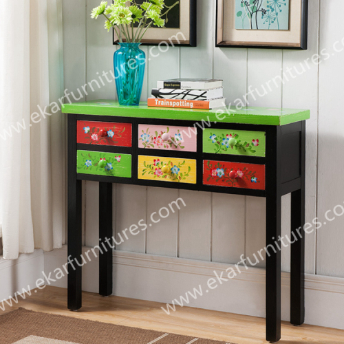 Colorful Painted Furniture Korea Style Clic Commode Curio Corner