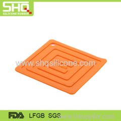 Embossed square shape silicone pot holder