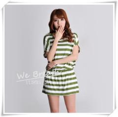 Apparel & Fashion Shirts & Blouses Tighten up Waist Long T-shirt Home Wear Blouse Bamboo Stripes