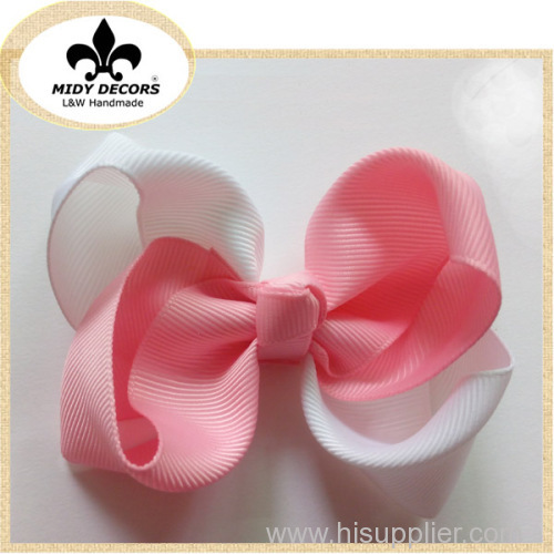 White and pink grosgrain hair bows for girl