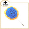 Gold Blue Rose flower brooch pin