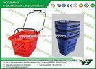 OEM Plastic Supermarket Rolling shopping basket cart with 4 wheels for Storage