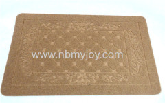 Rubber backing Polyester Embossed double door mat