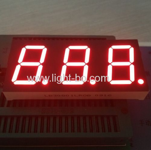 Super red 0.8-inch 3 digit 7 segment led display common cathode for Instrument Panel
