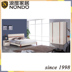 MDF double bed bedroom design 5209 with wardrobe