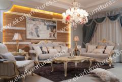 Vintage Carved Living Room Sofa,Sofa Fabric
