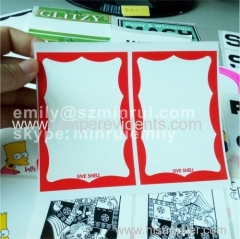 blank eggshell stickers with red borders