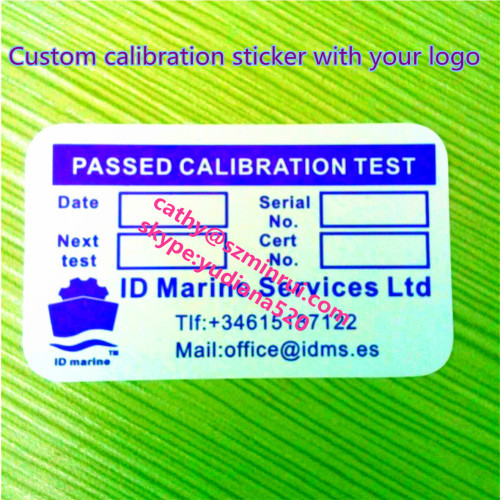 3x5cm round corners blue color passed calibration sticker