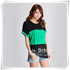 Apparel & Fashion Shirts & Blouses Bamboo Jersey Summer Short Sleeves T-shirt with Big Color Block Matching Soft