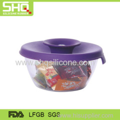 Durable silicone lid with empty plastic candy boxes