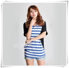 Apparel & Fashion Shirts & Blouses Bamboo Fabric Straps Printing Block Matching Stretchy T-shirt Girls Fashion Design
