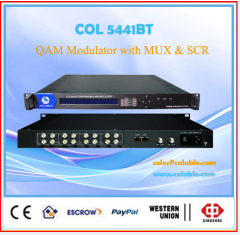QAM dvb-c rf modulator multiplexing scrambling with tuner 8 in 1